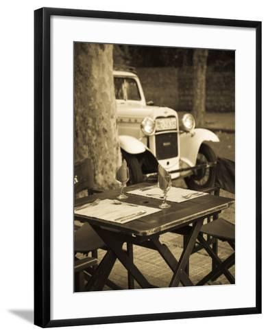 Colonia Del Sacramento, Cafe Table and Old Car, Uruguay-Walter Bibikow-Framed Art Print