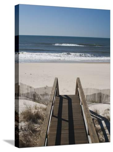 New York, Long Island, the Hamptons, Westhampton Beach, Beach View from Beach Stairs, USA-Walter Bibikow-Stretched Canvas Print