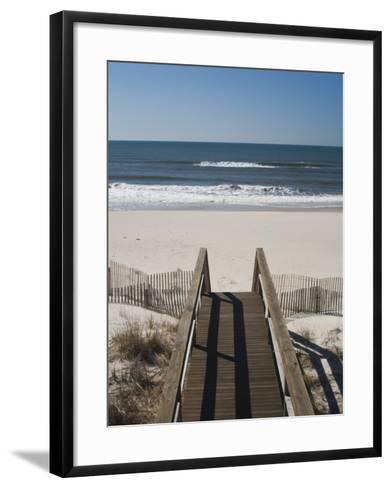 New York, Long Island, the Hamptons, Westhampton Beach, Beach View from Beach Stairs, USA-Walter Bibikow-Framed Art Print