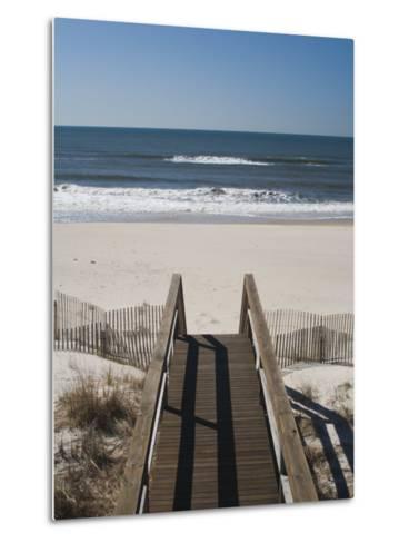New York, Long Island, the Hamptons, Westhampton Beach, Beach View from Beach Stairs, USA-Walter Bibikow-Metal Print