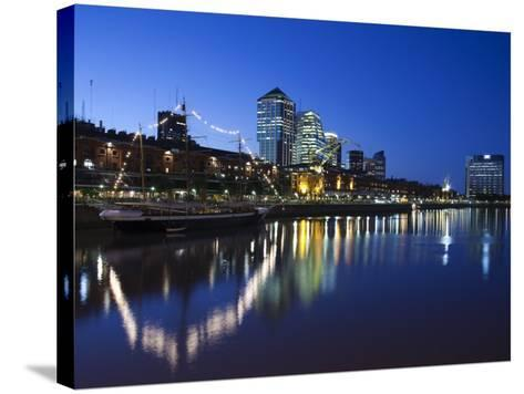 Buenos Aires, Puerto Madero, Highrise Buildings, Dusk, Argentina-Walter Bibikow-Stretched Canvas Print