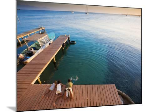 Bay Islands, Utila, Children Play on Jetty Outside Cafe Mariposa, Honduras-Jane Sweeney-Mounted Photographic Print