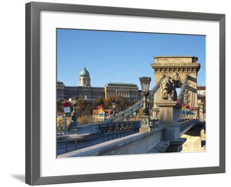 Chain Bridge and Royal Palace on Castle Hill, Budapest, Hungary-Doug Pearson-Framed Art Print