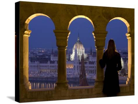 Hungarian Parliament Seen from Fishermans Bastion, Budapest, Hungary-Doug Pearson-Stretched Canvas Print