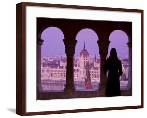 Hungarian Parliament Seen from Fishermans Bastion, Budapest, Hungary-Doug Pearson-Framed Art Print