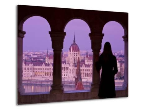 Hungarian Parliament Seen from Fishermans Bastion, Budapest, Hungary-Doug Pearson-Metal Print