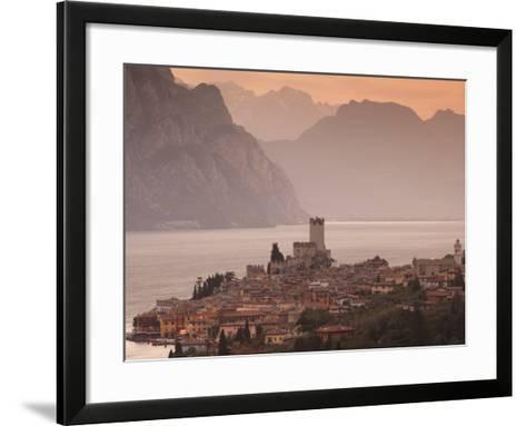 Veneto, Lake District, Lake Garda, Malcesine, Aerial Town View, Italy-Walter Bibikow-Framed Art Print
