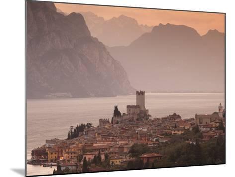 Veneto, Lake District, Lake Garda, Malcesine, Aerial Town View, Italy-Walter Bibikow-Mounted Photographic Print