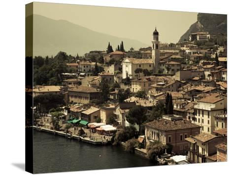 Lombardy, Lake District, Lake Garda, Limone Sul Garda, Town View with San Benedetto Church, Italy-Walter Bibikow-Stretched Canvas Print