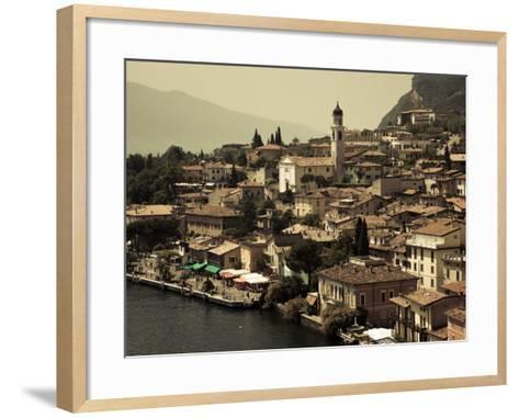 Lombardy, Lake District, Lake Garda, Limone Sul Garda, Town View with San Benedetto Church, Italy-Walter Bibikow-Framed Art Print
