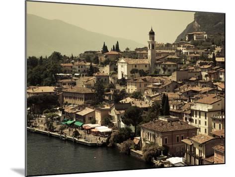 Lombardy, Lake District, Lake Garda, Limone Sul Garda, Town View with San Benedetto Church, Italy-Walter Bibikow-Mounted Photographic Print