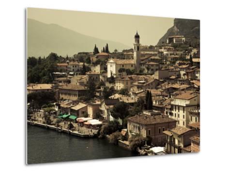 Lombardy, Lake District, Lake Garda, Limone Sul Garda, Town View with San Benedetto Church, Italy-Walter Bibikow-Metal Print