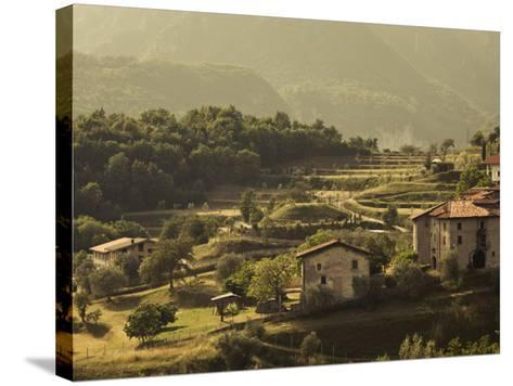Lombardy, Lake District, Lake Garda, Tremosine Plateau, Mountain Landscape by Cadignano, Italy-Walter Bibikow-Stretched Canvas Print