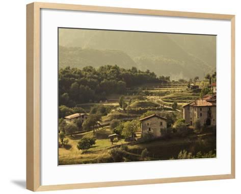Lombardy, Lake District, Lake Garda, Tremosine Plateau, Mountain Landscape by Cadignano, Italy-Walter Bibikow-Framed Art Print