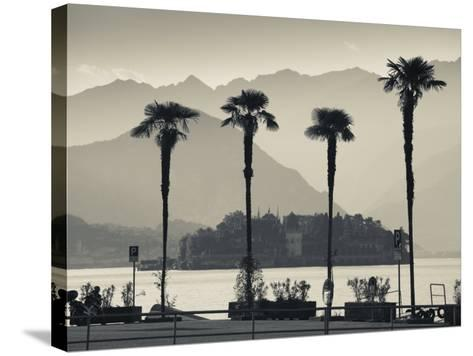 Piedmont, Lake Maggiore, Borromean Islands, Stresa, Lakefront Palms with Isola Bella, Italy-Walter Bibikow-Stretched Canvas Print