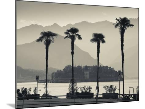 Piedmont, Lake Maggiore, Borromean Islands, Stresa, Lakefront Palms with Isola Bella, Italy-Walter Bibikow-Mounted Photographic Print