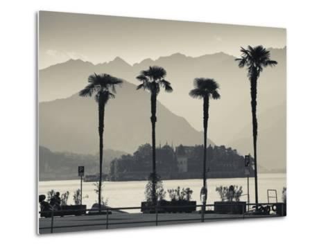 Piedmont, Lake Maggiore, Borromean Islands, Stresa, Lakefront Palms with Isola Bella, Italy-Walter Bibikow-Metal Print