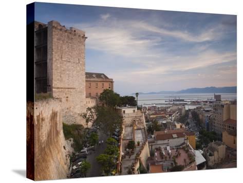 Sardinia, Cagliari, Il Castello Old Town, Torre Dell' Elefante Tower, Sunset, Italy-Walter Bibikow-Stretched Canvas Print