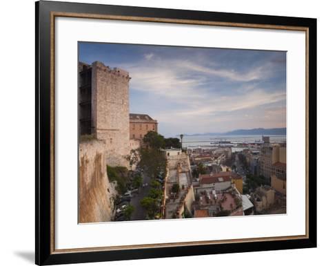 Sardinia, Cagliari, Il Castello Old Town, Torre Dell' Elefante Tower, Sunset, Italy-Walter Bibikow-Framed Art Print