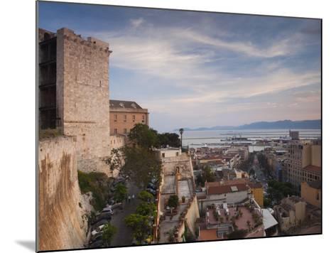 Sardinia, Cagliari, Il Castello Old Town, Torre Dell' Elefante Tower, Sunset, Italy-Walter Bibikow-Mounted Photographic Print
