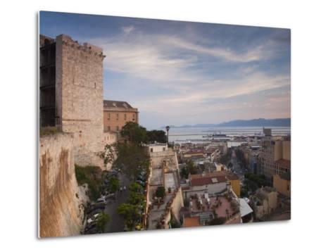 Sardinia, Cagliari, Il Castello Old Town, Torre Dell' Elefante Tower, Sunset, Italy-Walter Bibikow-Metal Print