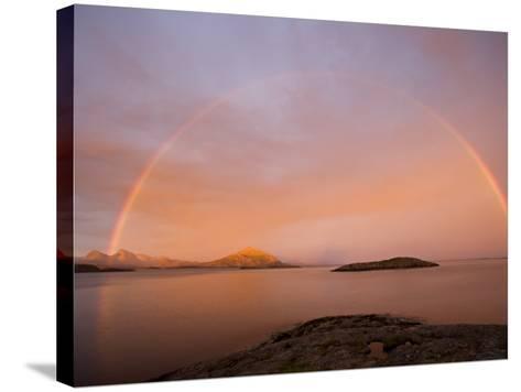 Nordland, Helgeland, A Rainbow at Midnight, Norway-Mark Hannaford-Stretched Canvas Print