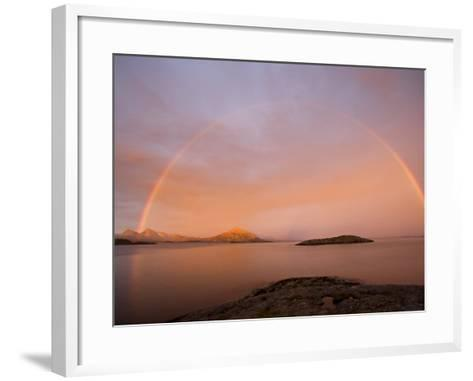 Nordland, Helgeland, A Rainbow at Midnight, Norway-Mark Hannaford-Framed Art Print