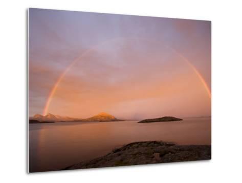 Nordland, Helgeland, A Rainbow at Midnight, Norway-Mark Hannaford-Metal Print