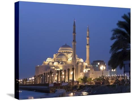United Arab Emirates, Sharjah, Sharjah Mosque by the Corniche, Dusk-Michele Falzone-Stretched Canvas Print