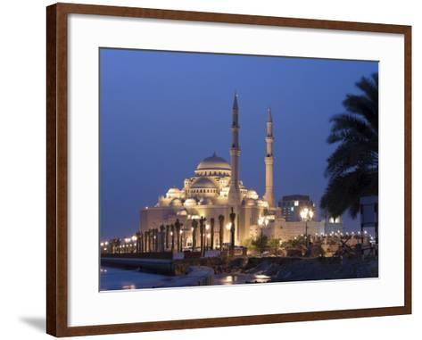 United Arab Emirates, Sharjah, Sharjah Mosque by the Corniche, Dusk-Michele Falzone-Framed Art Print