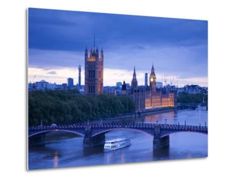 Houses of Parliament and River Thames, London, England, UK-Jon Arnold-Metal Print