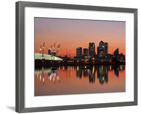 London, Newham, O2 Arena and Canary Wharf Buildings Reflecting in Royal Victoria Docks, England-Jane Sweeney-Framed Art Print