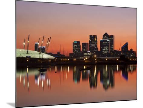 London, Newham, O2 Arena and Canary Wharf Buildings Reflecting in Royal Victoria Docks, England-Jane Sweeney-Mounted Photographic Print