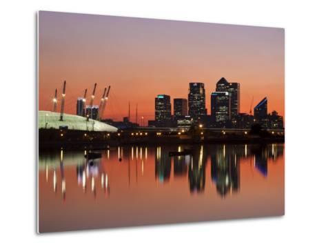 London, Newham, O2 Arena and Canary Wharf Buildings Reflecting in Royal Victoria Docks, England-Jane Sweeney-Metal Print