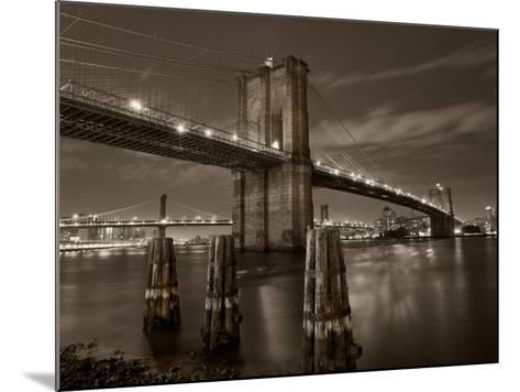 New York City, Manhattan, the Brooklyn and Manhattan Bridges Spanning the East River, USA-Gavin Hellier-Mounted Photographic Print
