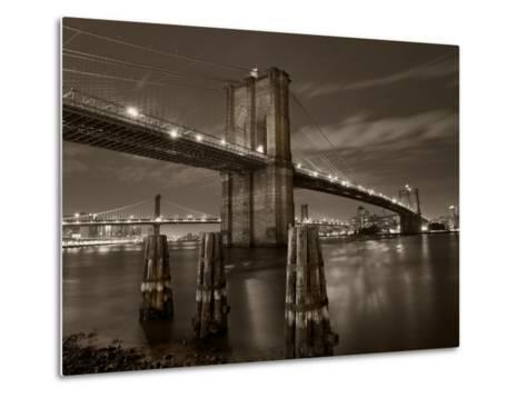 New York City, Manhattan, the Brooklyn and Manhattan Bridges Spanning the East River, USA-Gavin Hellier-Metal Print