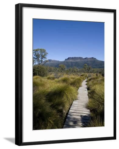 Final Stretch of Overland Track to Narcissus Hut, Mount Olympus on Shores of Lake St Clair in Back-Julian Love-Framed Art Print