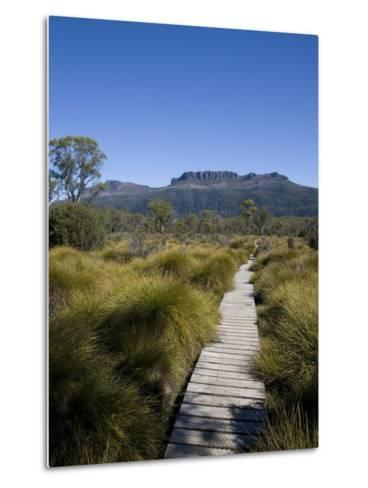 Final Stretch of Overland Track to Narcissus Hut, Mount Olympus on Shores of Lake St Clair in Back-Julian Love-Metal Print