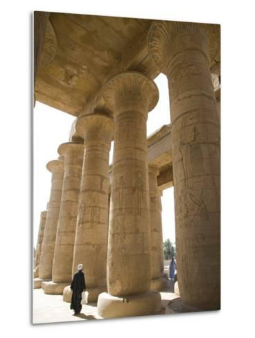 Man Walks Underneath the Giant Columns of the Hypostyle Hall in the Ramesseum, Luxor-Julian Love-Metal Print