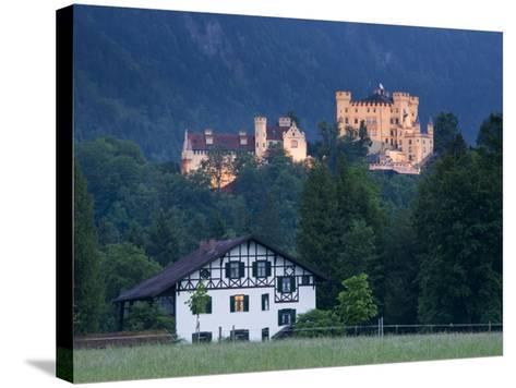 Bayern/Bavaria, Deutsche Alpenstrasse, Schwangau, Schloss Hohenschwangau, Germany-Walter Bibikow-Stretched Canvas Print