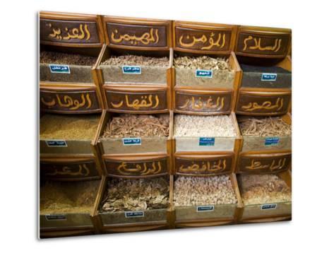 Spices for Sale in the Souq-Al-Atterine Near Khan El-Khalili, Cairo, Egypt-Julian Love-Metal Print