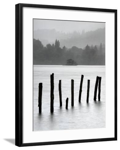 Remains of Jetty in the Mist, Derwentwater, Cumbria, England, UK-Nadia Isakova-Framed Art Print