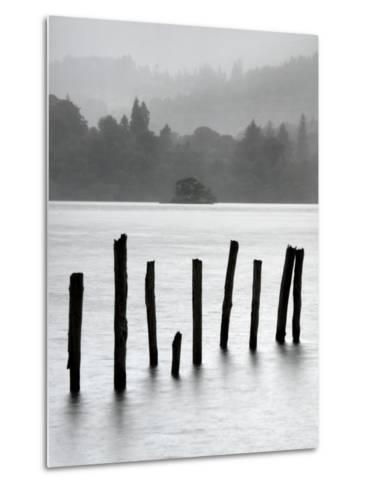 Remains of Jetty in the Mist, Derwentwater, Cumbria, England, UK-Nadia Isakova-Metal Print