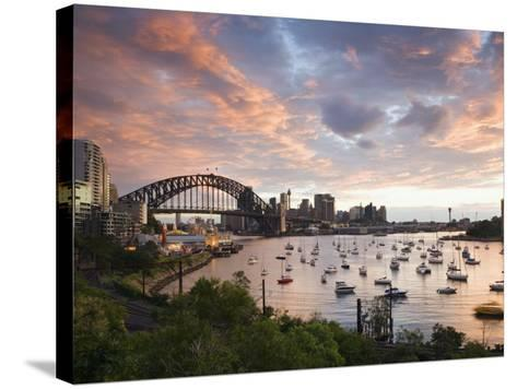 New South Wales, Lavendar Bay Toward the Habour Bridge and the Skyline of Central Sydney, Australia-Andrew Watson-Stretched Canvas Print