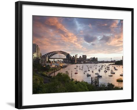 New South Wales, Lavendar Bay Toward the Habour Bridge and the Skyline of Central Sydney, Australia-Andrew Watson-Framed Art Print