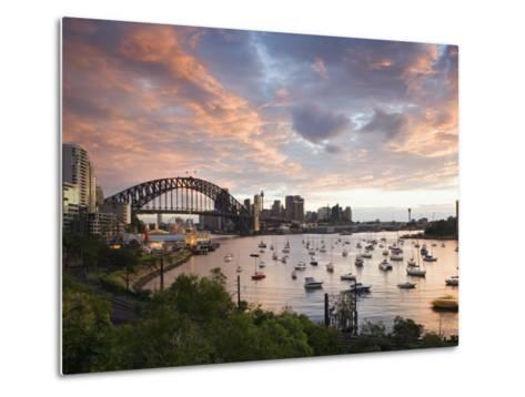New South Wales, Lavendar Bay Toward the Habour Bridge and the Skyline of Central Sydney, Australia-Andrew Watson-Metal Print