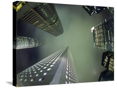 Highrises Soar over the Business District of Central on Hong Kong Island-Andrew Watson-Stretched Canvas Print