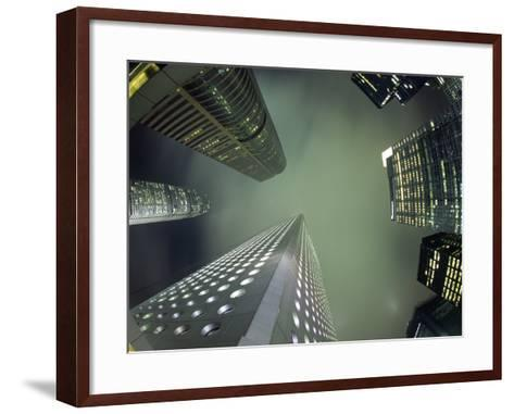 Highrises Soar over the Business District of Central on Hong Kong Island-Andrew Watson-Framed Art Print
