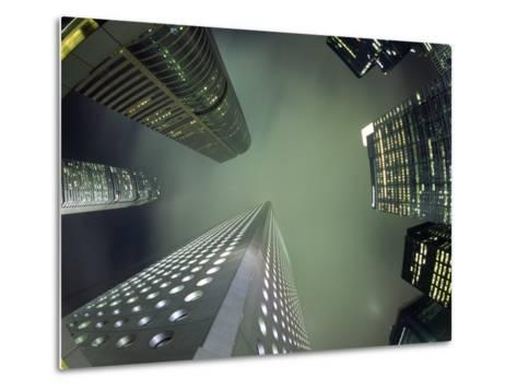 Highrises Soar over the Business District of Central on Hong Kong Island-Andrew Watson-Metal Print