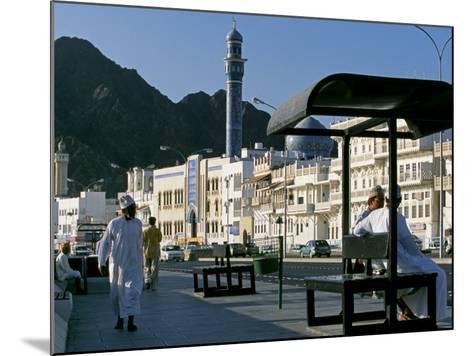 Omanis Walk and Sit Alongside Muttrah's Busy Corniche-John Warburton-lee-Mounted Photographic Print